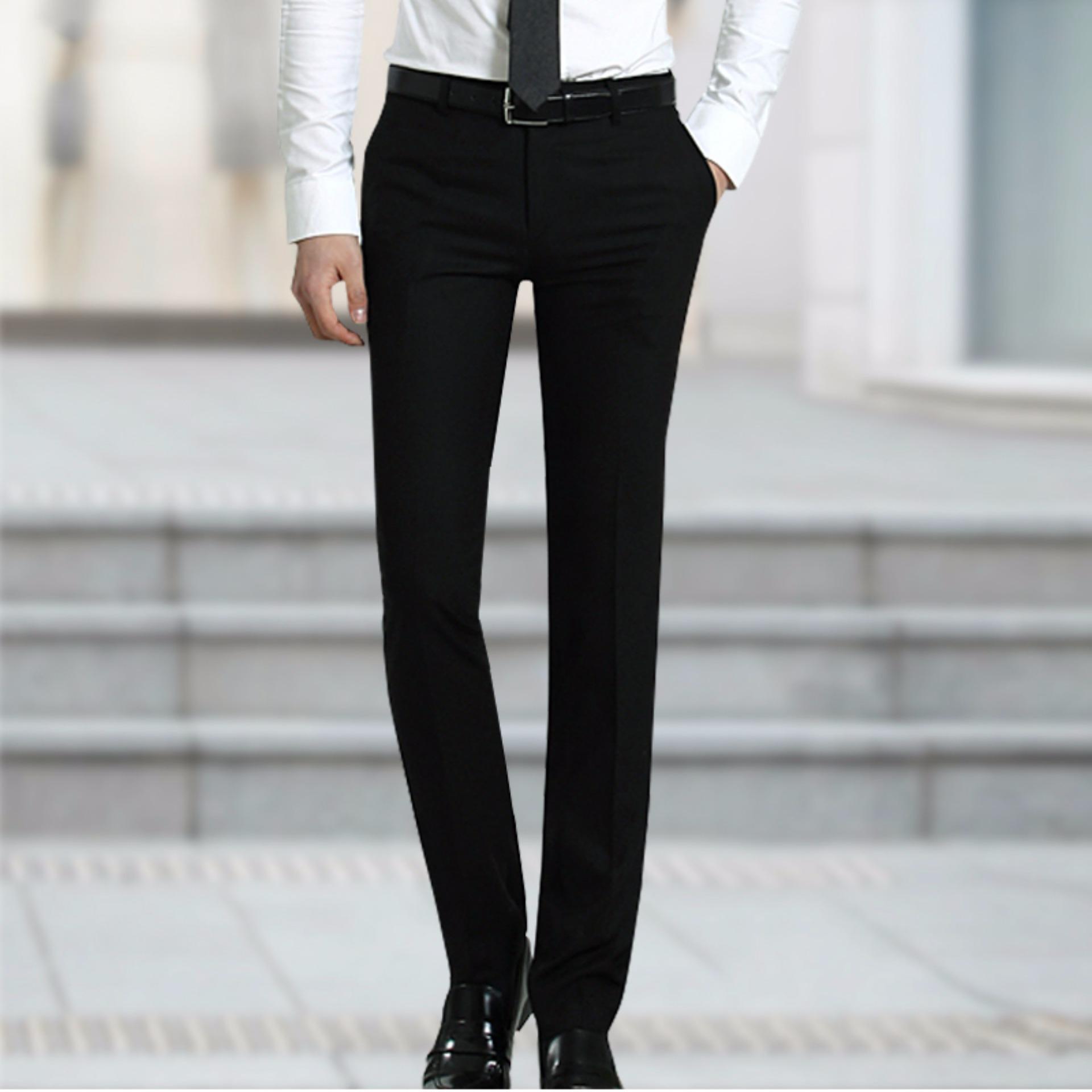 Pola ukuran normal Nusantara Jeans Celana Bahan Pria Formal Kantoran Premium Kuality Slim Fit - Hitam