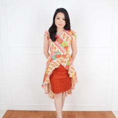 De Voile Batik Wanita Ghina Wide Tail Dress (Orange)