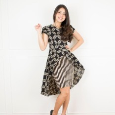 De Voile Dress Batik Wanita Modern Franda Wide Tail dress ( Black)
