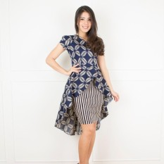 De Voile Dress Batik Wanita Modern Franda Wide Tail dress ( Navy )