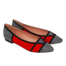 Beli Dea Triangle B*k*n* Flat Shoes 1607 300 Grey Red Size 36 41 Kredit