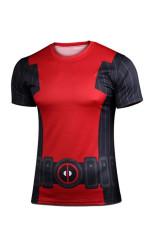 Diskon Deadpool X Men Kasual Fashion Katun Dicetak Lengan Pendek Mens T Shirt Merah Hitam