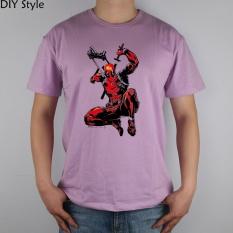 DEADPOOL PULL KATANA short sleeve T-shirt Cotton Men T shirt New round neck summer men's tee pink