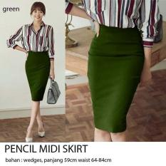 Debbie Gallery Rok Wanita Import Pencil Skirt Hijau Green / Pensil Skirt / Rok Pensil / cewek/ Nina