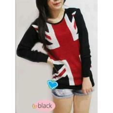 Debbie Gallery Sweater Wanita Rajut Bendera Inggris FS0180 – HITAM / Baju Hangat / Kaos T-Shirt Lengan Panjang / Rnengland