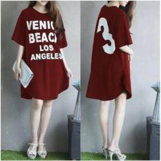 Debbie Gallery T-Shirt Dress Lengan Pendek FS0026 - MAROON / Gaun Kaos Wanita / Baju Terusan / Rnvenice