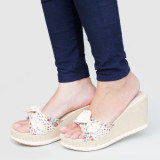 Review Toko Debuchy Sandal Wanita Wedges Ribbon Flowery Ip07 Cream