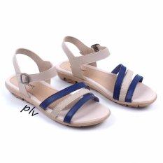Pluvia - Sepatu Sandal Flat Wanita Tali Terbaru AD07 - Navy