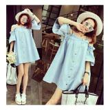 Promo Ratucouple Dress Irana Gaun Wanita Dress Sabrina Bahan Denim Dress Polos Jeans Nr Di Indonesia