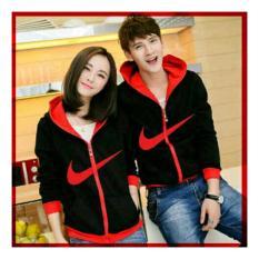 DeCouple Jaket Modern Baru Pasangan Cewek dan Cowok Model N / Jacket Couple  Just Do It / Jaket Sepasang / Jacket Girl & Jaket Pria LC - Merah