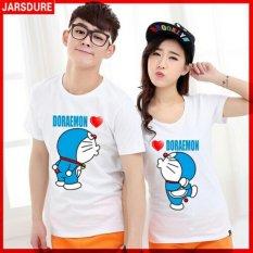 DeCouple Kaos Bagus Pasangan Couple Doraemon / Kaos Oblong Fans Club / Kaos Pasangan / Tshirt Pasangan / Pakaian Kembar / Kaos Pria Wanita LC - Putih