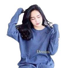 Dections Atasan Wanita Rajut Loose Sweater Denim Jawa Timur