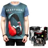 Katalog Dections Grosir 6 Buah Kaos T Shirt 3D Gambar Headset Dections Terbaru