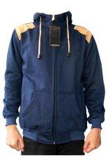 DEcTionS Jaket Sweater Fleece Elbow - Navy