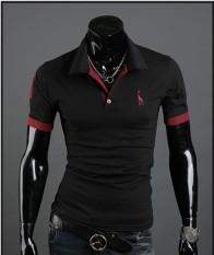 Rusa Bordir T-shirt Lengan Pendek T-shirt Klasik Panas Ledakan Model (hitam)-Intl