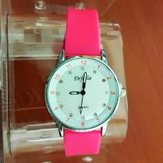 Promo Defolie Jam Tangan Fashion Wanita 801 Straps Rubber Girly Import Pink Box Defollie