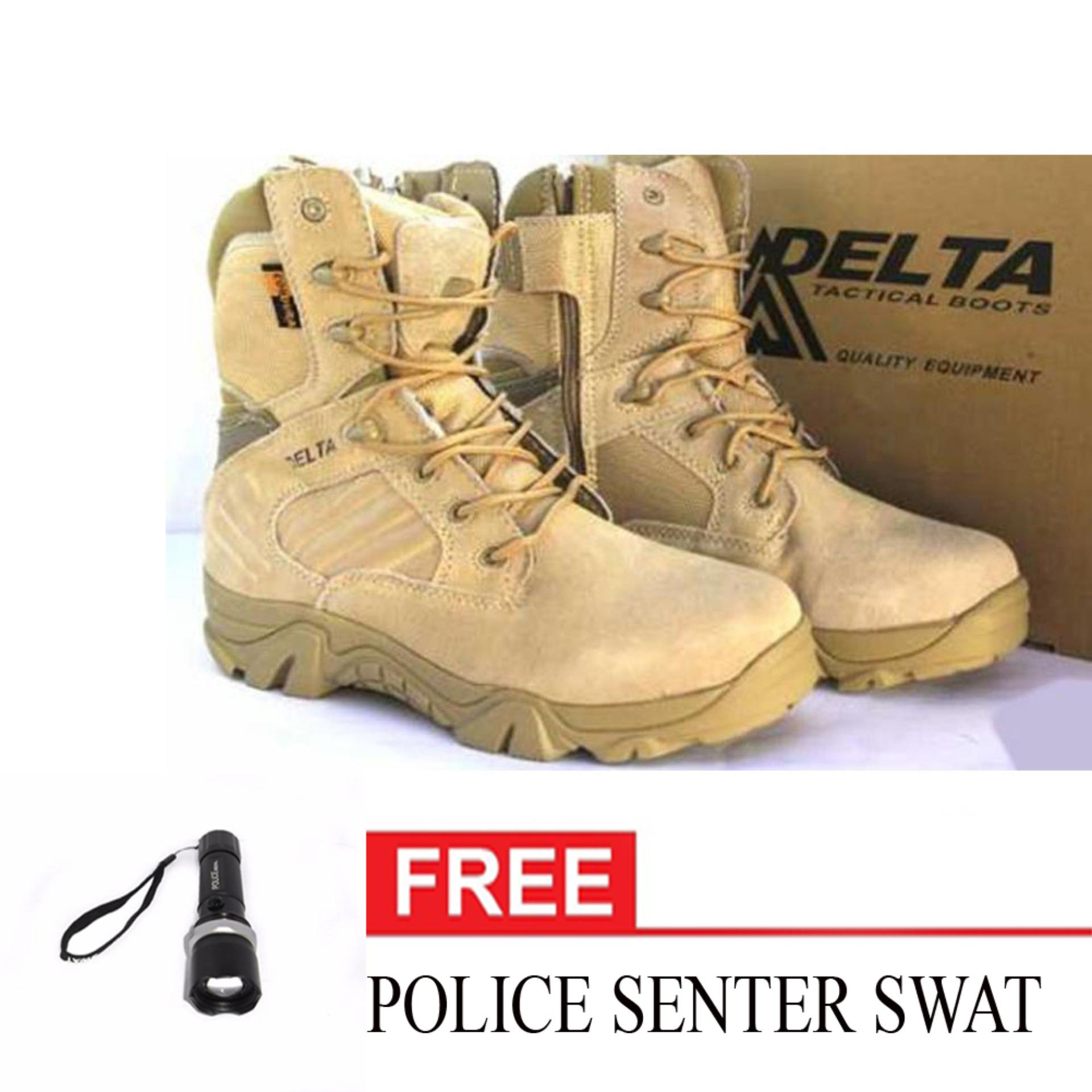 Delta Dbest Sepatu Boot Hiking Delta High 8inch Quality Outdoor + POLICE SENTER SWAT