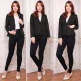 Harga Demost Blazer Long Sleeve Wanita Berbahan Wool Tebal Jahitan Rapi Murah Berkualitas Hitam Terbaru