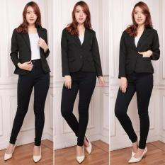 deMost - Blazer Long Sleeve Wanita Berbahan Wool Tebal - Jahitan Rapi - Murah Berkualitas - Hitam
