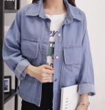 Harga Jaket Denim Wanita Longgar Lengan Panjang Jaket Korea Versi Siswa Jaket Untuk Wanita Biru Muda Internasional Oem Baru
