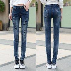 Celana Denim Patch Ripped Jeans untuk Lubang Wanita Elastis Wanita Kurus Pensil Celana-Dark Blue-Intl