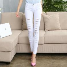 Celana Denim Patch jeans Robek untuk Lubang Wanita Wanita Kurus Celana Panjang Pensil Celana Putih-Intl