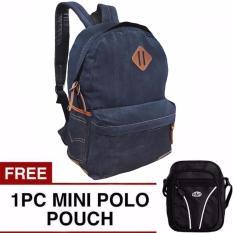 Denim Respect Plain Backpack Free Mini Pouch Selempang Original
