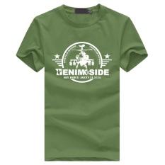 Sisi Denim Sky Force Agen 2017 Baru Hot Custom O Katun Lengan Pendek T-Shirt untuk Pria (Hijau Army) -Intl