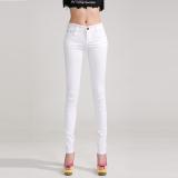 Harga Denim Warna Perempuan Slim Celana Pensil Bottoming Celana Putih Asli Oem