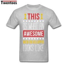 Desainer Populer Lengan Kreatif Mengagumkan Pengembang Web Lengan Pendek Kustom T Shirt untuk Menss untuk Pria (Abu-abu)-Intl