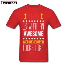 Designer Lengan Yang Populer Creative Mengagumkan Pengembang Web Kustom Short Lengan Kaus untuk Menss untuk Pria (Merah) -Internasional