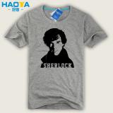 Beli Detektif Beberapa Inggris Sherlock Holmes Musim Panas T Shirt Abu Abu Dan Hitam Oem Asli