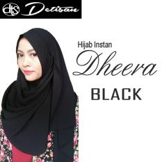 Harga Detisan Hijab Instan Dheera Black Satu Set