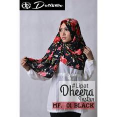 Harga Detisan Hijab Instan Dheera Lipat Motif Flower Black Detisan Terbaik