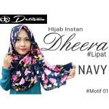 Ulasan Lengkap Detisan Hijab Instan Motif Bunga Dheera Navy