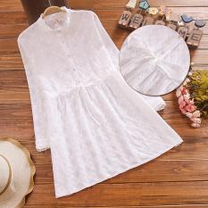 Dewi Bagian Putih Panjang Terlihat Langsing Atasan Gaun (Putih)
