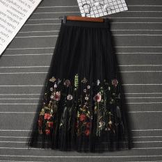 Harga Dewi Korea Fashion Style Bordir Rok Lipit Bagian Panjang Rok Dalaman Kasa Rok Setengah Badan Hitam Baru Murah