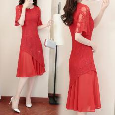 Dewi Korea Fashion Style Sifon Terlihat Langsing Setengah Panjang Model Rok Gaun (Merah) baju wanita dress wanita Gaun wanita