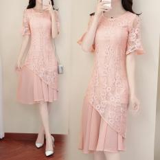 Dewi Korea Fashion Style Sifon Terlihat Langsing Setengah Panjang Model Rok Gaun (Merah Muda Warna) baju wanita dress wanita Gaun wanita