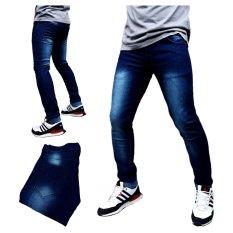 DFS Celana jeans skinny / slimfit / pensil pria - Biru dongker scrub