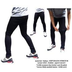 DFS Celana jeans skinny / slimfit / pensil pria - Hitam softjeans