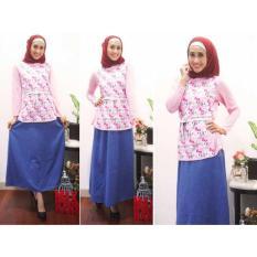 Dhala - 4in1 Busana Muslimah Hello Kitty Denim (Baju+Rok+Pashmina+Belt)