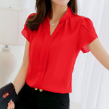 Jual Calan Diana Kemeja Wanita Fashion Bahan Sifon Lengan Pendek Banyak Warna Merah Di Tiongkok