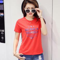 Beli Caidaifei Korea Fashion Style Kapas Musim Panas Ukuran Besar T Shirt Ttt27 Merah Ttt27 Merah Pake Kartu Kredit