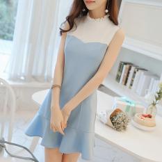 Diana Choi Korea Warna Polos Musim Semi atau Musim Panas Baju Baru Flounced Gaun (Cahaya Biru)