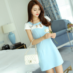 Toko Caidaifei Korean Style Spring And Summer New Style Slim Fit Elegant Short Sleeved Dress Langit Biru Yang Bisa Kredit