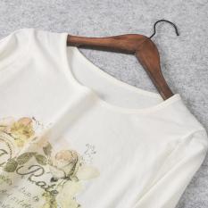 Dicetak Jersey Dasar Lengan Panjang dari Pakaian Wanita Atasan Baju Dalaman (Putih Susu)