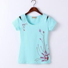 Harga Dicetak Lengan Pendek T Shirt Strapless Kemeja Biru Muda Baju Wanita Baju Atasan Kemeja Wanita Branded