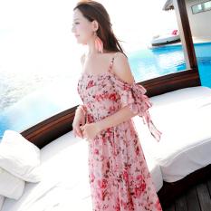 Dicetak sifon renda pantai gaun pantai gaun bohemian (Guas warna) (Guas warna) baju wanita dress wanita Gaun wanita
