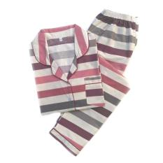 Dijual Piyama Mewah Maroon Garis Cotton Import Baju Tidur Wanita Cewek PK46 Limited